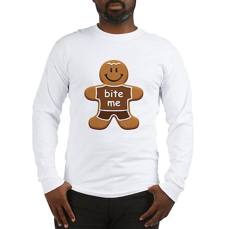 'Bite Me' Gingerbread Man Long Sleeve T-Shirt