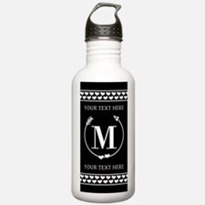 Black and White Arrow Water Bottle