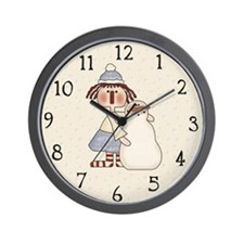 Ragdoll and Snowman Wall Clock