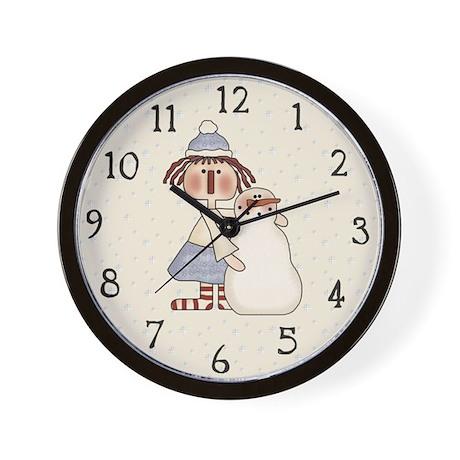 Ragdoll and Snowman Wall Clock