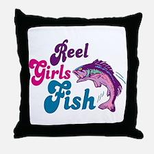 Reel Girls Fish Throw Pillow