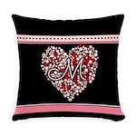 Heart Monogram M Everyday Pillow