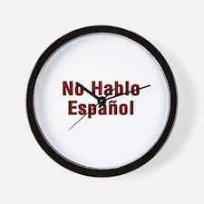 No Hablo Espanol Wall Clock