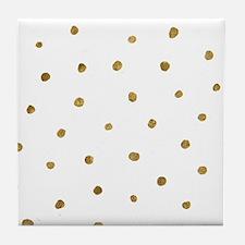 Metallic Gold Dots Tile Coaster
