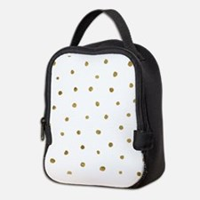 Metallic Gold Dots Neoprene Lunch Bag