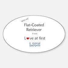 Flat-Coat Lick Oval Decal