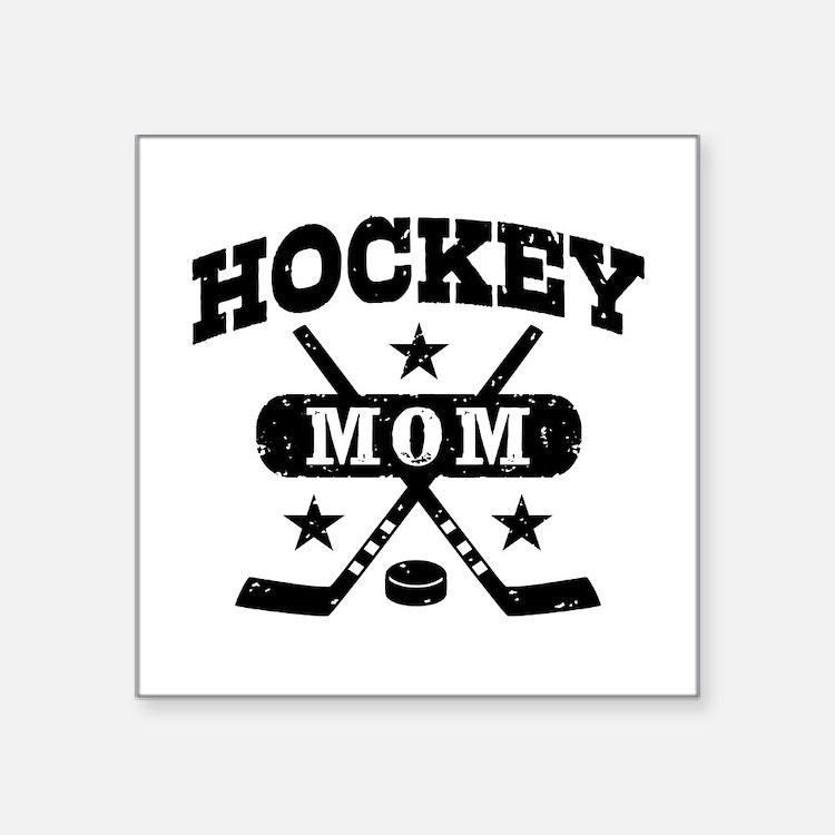 "Cute Hockey mom Square Sticker 3"" x 3"""