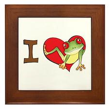 I heart frogs Framed Tile