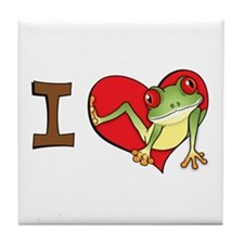 I heart frogs Tile Coaster