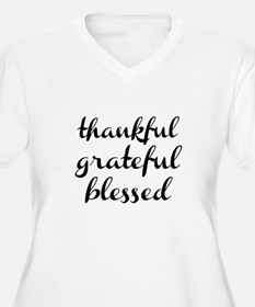 thankful grateful blessed Plus Size T-Shirt