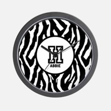 Zebra Print Monogram Wall Clock