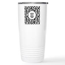 Zebra Print Monogram Stainless Steel Travel Mug