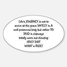 Life's journey Oval Bumper Stickers