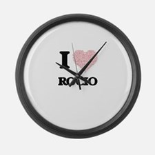 I love Rocio (heart made from wor Large Wall Clock
