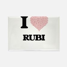 I love Rubi (heart made from words) design Magnets