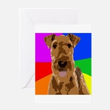 Rainbow Airedale Terrier Greeting Cards