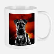 Black and White Airedale Terrier Volcano Art Mugs
