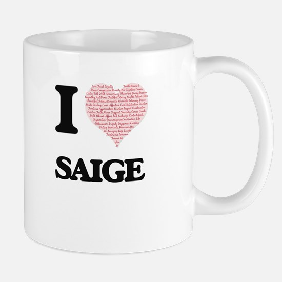 I love Saige (heart made from words) design Mugs