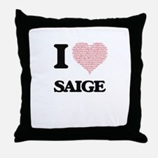 I love Saige (heart made from words) Throw Pillow
