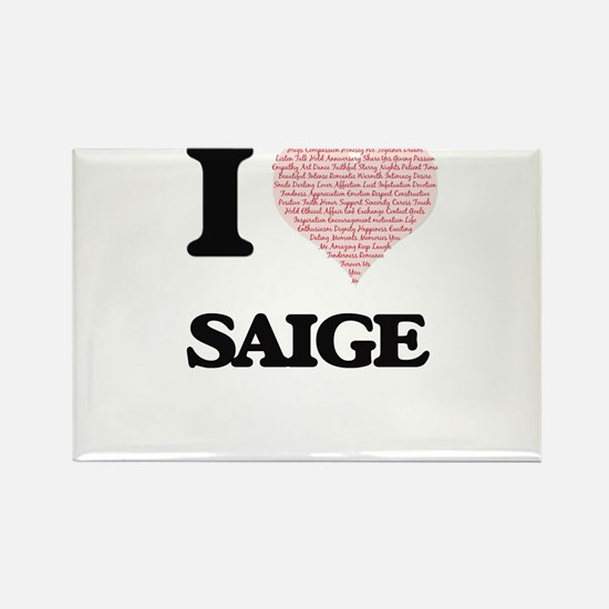I love Saige (heart made from words) desig Magnets