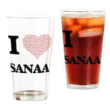 I love Sanaa (heart made from words Drinking Glass