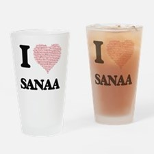 I love Sanaa (heart made from words Drinking Glass