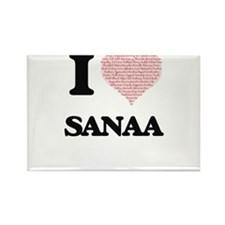 I love Sanaa (heart made from words) desig Magnets