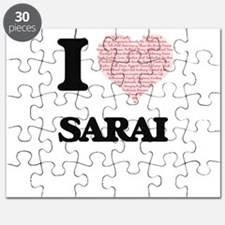 I love Sarai (heart made from words) design Puzzle