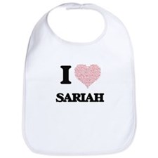 I love Sariah (heart made from words) design Bib