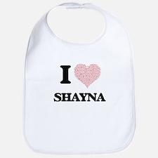 I love Shayna (heart made from words) design Bib