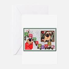 Cute Christmas pugs with santa Greeting Cards (Pk of 20)