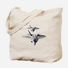 Two F-22 Raptors in Flight Tote Bag