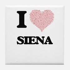 I love Siena (heart made from words) Tile Coaster