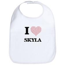I love Skyla (heart made from words) design Bib