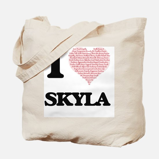 I love Skyla (heart made from words) desi Tote Bag