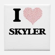I love Skyler (heart made from words) Tile Coaster