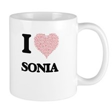 I love Sonia (heart made from words) design Mugs