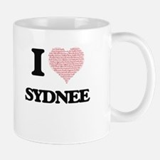 I love Sydnee (heart made from words) design Mugs