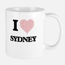 I love Sydney (heart made from words) design Mugs