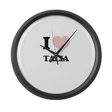 I love Talia (heart made from wor Large Wall Clock