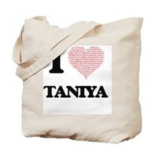 I love Taniya (heart made from words) des Tote Bag