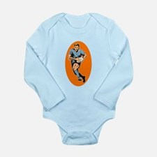 Cute Rugby player Long Sleeve Infant Bodysuit