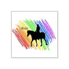 """Cute Horse sports Square Sticker 3"""" x 3"""""""