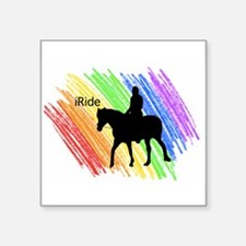 "Unique Horse sports Square Sticker 3"" x 3"""