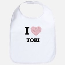 I love Tori (heart made from words) design Bib