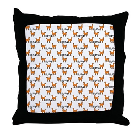 Llama Mania Throw Pillow