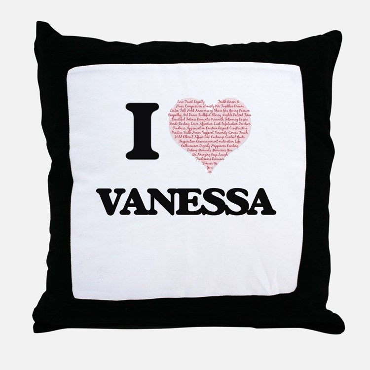 I love Vanessa (heart made from words Throw Pillow