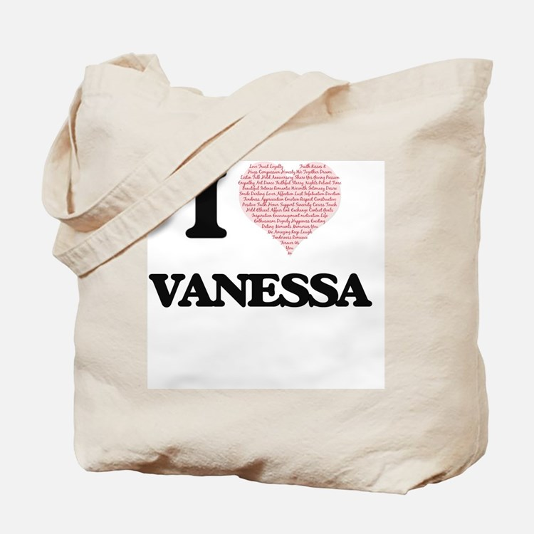 I love Vanessa (heart made from words) de Tote Bag