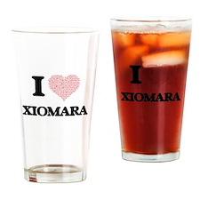I love Xiomara (heart made from wor Drinking Glass