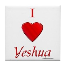 I Love Of Yeshua Tile Coaster